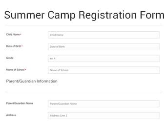 Summer Camp Registration Form