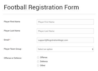 Football Registration Form Registrationmagic